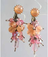 Pink Iridescent Cut Glass & Lucite Moonstone Chandelier Clip Earrings 19... - $19.75