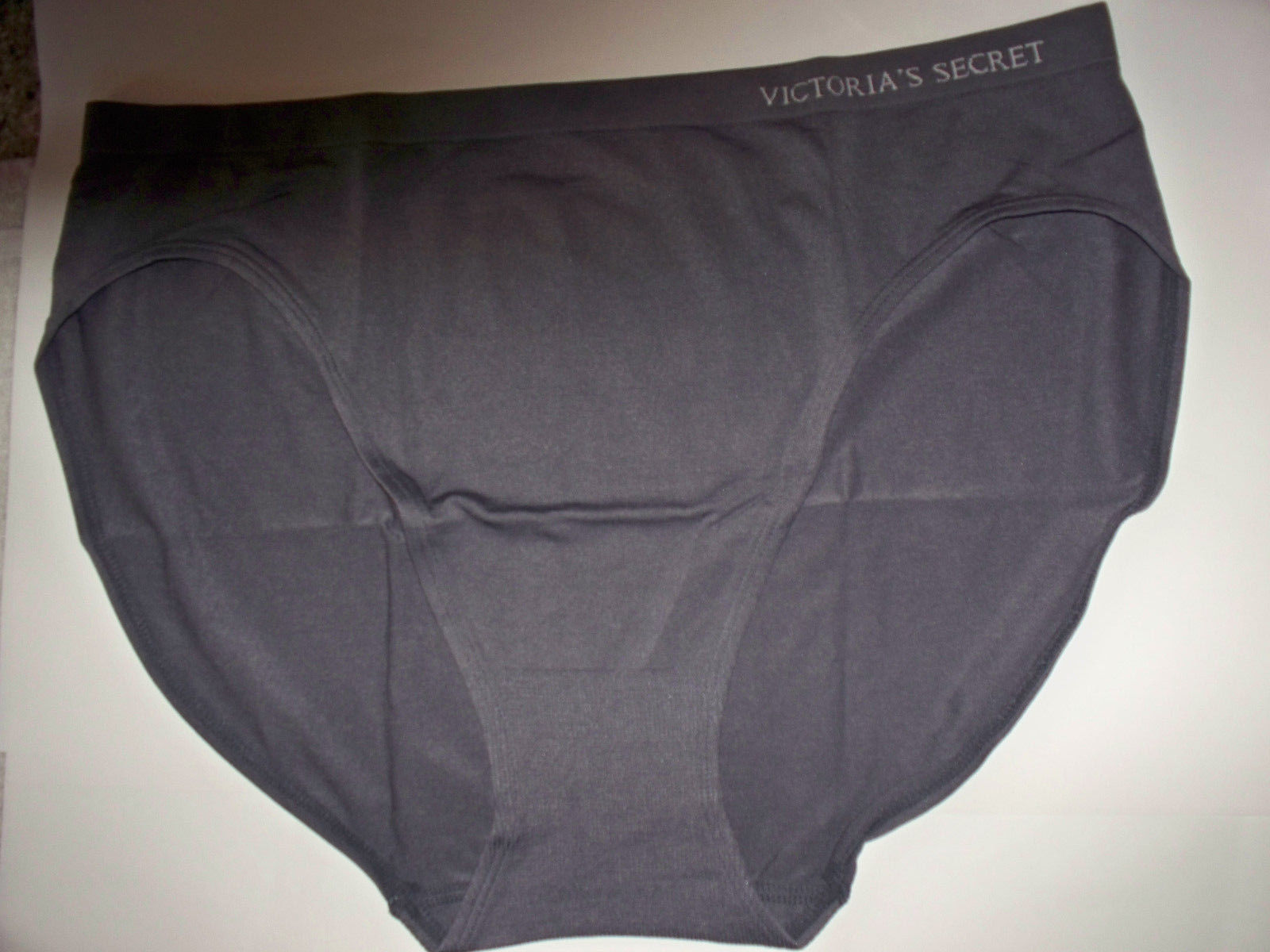 VICTORIA/'S SECRET High Waist Brief Black Panty M L No Show Seamless Silver Heart