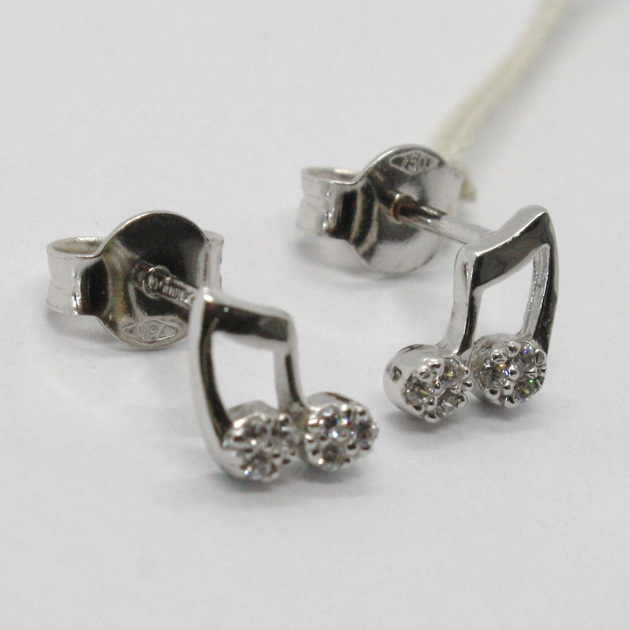 18K WHITE GOLD EARRINGS, MINI MUSICAL NOTE, ZIRCONIA, LENGTH 8 MM, MADE IN ITALY