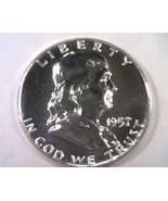 1957 FRANKLIN HALF DOLLAR SUPERB PROOF SUPERB PR NICE ORIGINAL COIN BOBS... - $68.00
