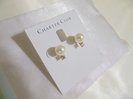 Charter Club 9mm Gold-Tone Imitation Pearl and Crystal Stud Earrings H966 - $9.59