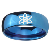 8mm American Atheist Dome Blue Tungsten Carbide Mens Ring Engraved - $39.99