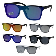 Boys Shield Horn Rim Plastic Rectangular Hipster Sunglasses - $9.95