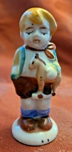 Vintage Porcelain Figurine - Boy With Toy Pony  - Made in Occupied Japan 3""