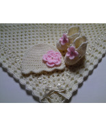 Crochet Baby Blanket, Booties and Baby Hat Set Gift Christening Baptism ... - $49.90