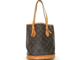 Authentic LOUIS VUITTON Monogram Canvas Leather Petit Bucket Bag - $282.83