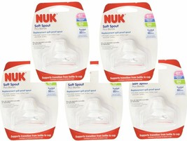 5 Packs of NUK Sippy Cup Bottle Soft Silicone Clear BPA Free Replacement... - $23.98