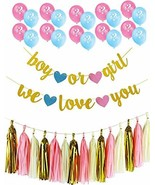 Gender Reveal Party Decoration Supplies - |Gold Glittery Boy or Girl Ban... - $10.42