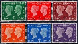 1940 Centenary of Postage Stamp Set of 6 Great Britain Stamps Catalog 252-57 MNH