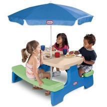 Little Tikes Easy Store Picnic Table with Umbrella Kid Area Parties Port... - $91.07