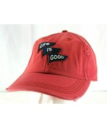 Life is Good Red/White Distressed Style Baseball Cap Buckle - £15.45 GBP