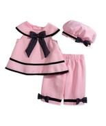 Rare Editions Baby Girls' 3-Piece Pink Dress, Capri & Hat Set,Pink , Size 18M - $28.07 CAD