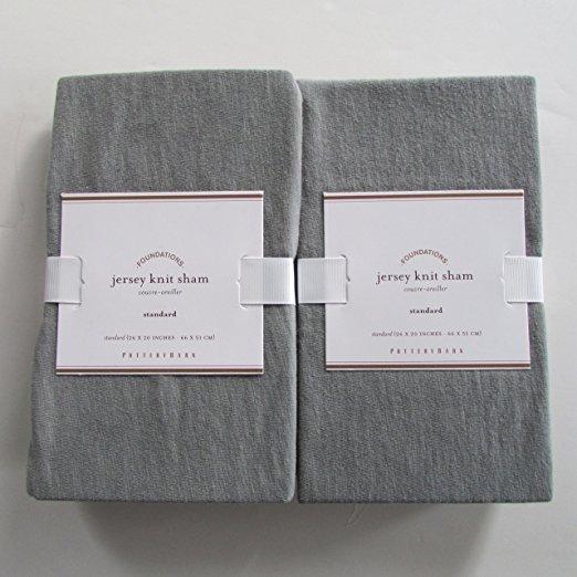 Pottery Barn JERSEY KNIT Standard Shams ~Set of Two~Grey - $59.00