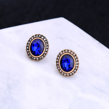 Antique Gold Color Round Blue Glass Small Stud Earrings For Girls Holiday - $4.97
