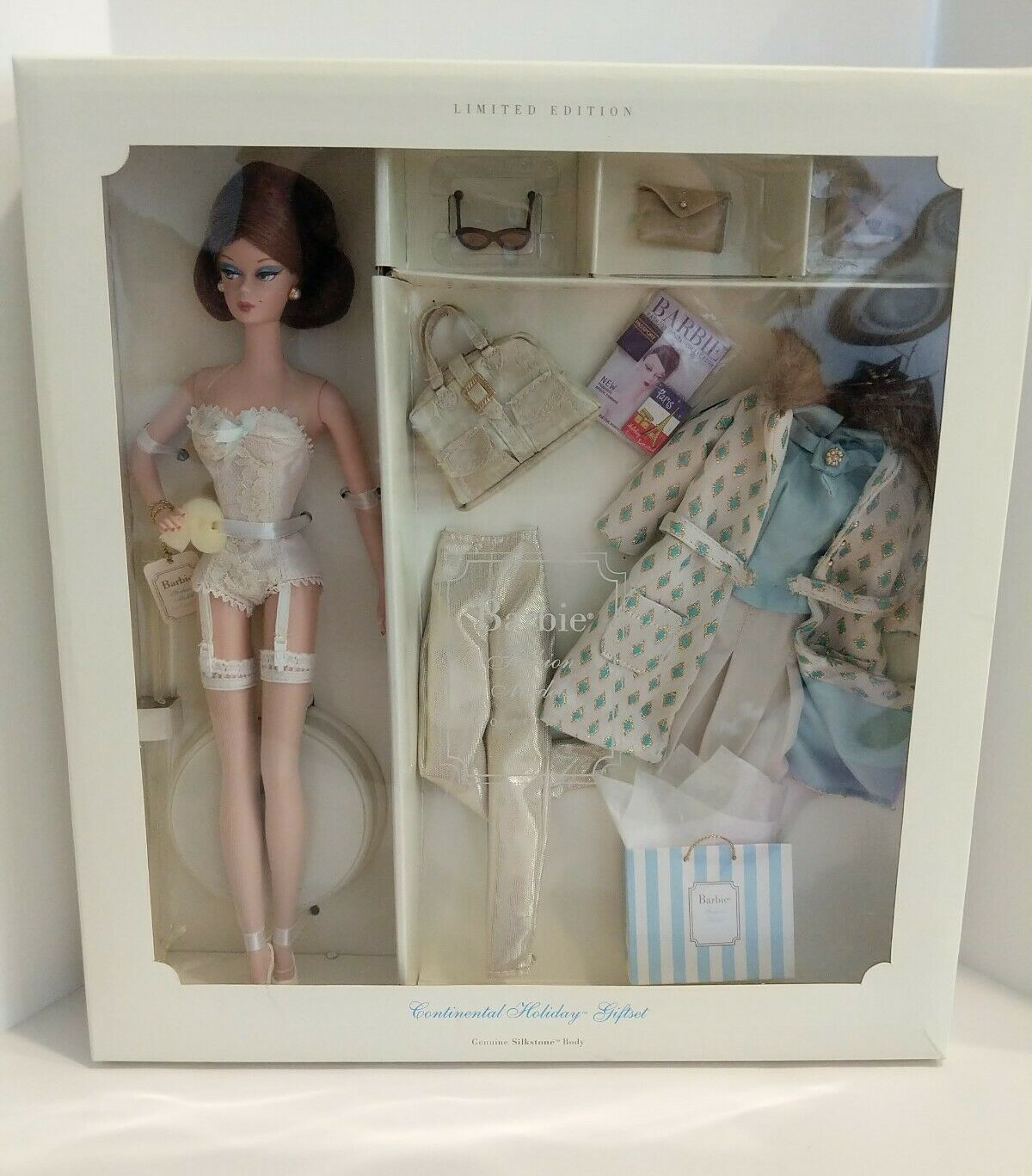 MIB 2001 Silkstone Barbie Continental Holiday Gift Set #55497 - $222.74
