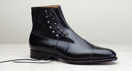 Handmade Men's Black Two Tone High Ankle Fashion Lace Up Leather and Suede B image 3