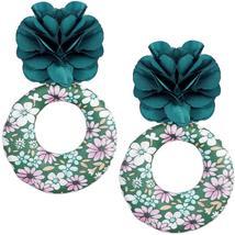 Green Floral Fabric Drop Hoop Earrings - $13.64
