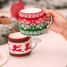 Christmas Decoration For Home Mug Cover Tree Snowflake Elk Knitted Cup C... - $89,07 MXN