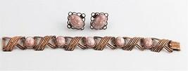 50's ESTATE VINTAGE Jewelry COPPER CONFETTI SET EARRINGS & BRACELET - $25.00