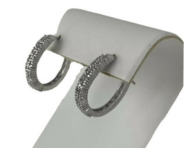 "Silver Tone Diamond Chip Oblong Hoop Earrings 1""  - $26.14"