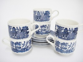 Churchill Blue Willow Flat Cups and Saucer Sets Lot of 6 Georgian Englan... - $29.69