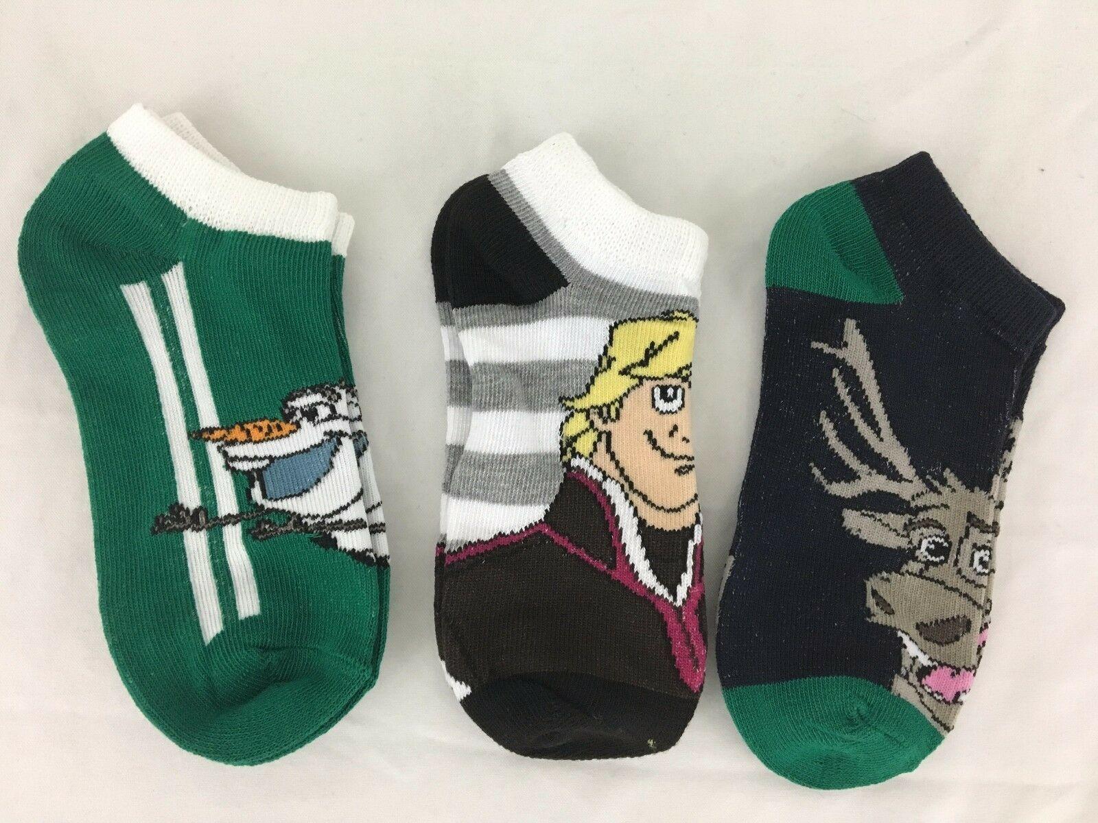Disney Frozen Socks Low Cut Olaf Kristoff Sven 12 Pairs Sizes SM or ML image 3