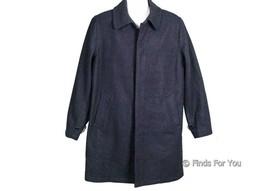 J Crew Men's Wool Car Coat Jacket Hidden Button Front 42R A9742 Navy - $119.59