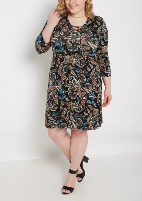 NWT Size 1x,2x,3x rue21 Black Boho Surplice V-neck Skater Dress