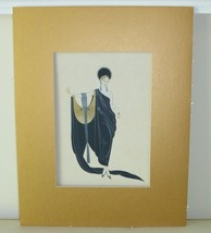 Erte Gouache Fashion Design Painting on Stiff Paper - $1,299.00