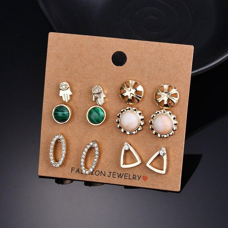 BAHYHAQ -  6 Pairs Earrings Palm Flower Triangle Rhinestone Stone Earrings Set