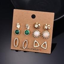 BAHYHAQ -  6 Pairs Earrings Palm Flower Triangle Rhinestone Stone Earrin... - $4.00