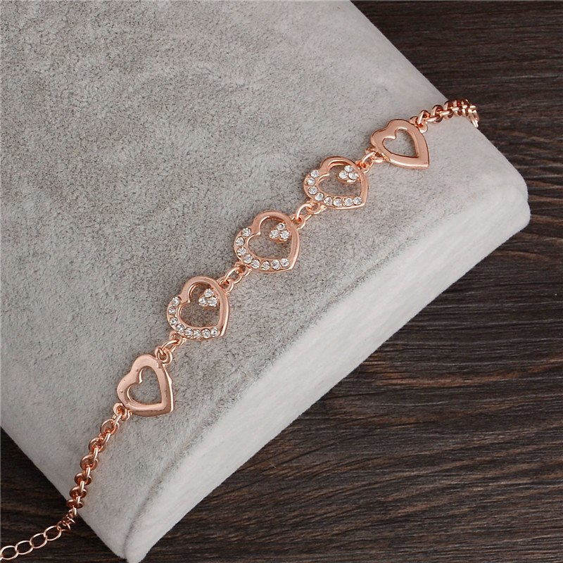 Primary image for Rose Gold Chain Link Bracelet for Women Ladies Crystal Heart Jewelry