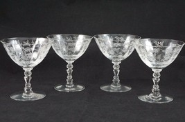 SET OF 4 FOSTORIA CHINTZ (ETCHED) Sherbet FOOTED GOBLETS BLOWN GLASS - $47.89