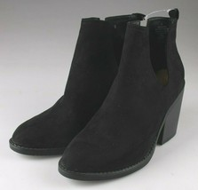 Mossimo Supply Co. Black Faux Suede Basil Cut Out Booties Stacked Heel Size 11