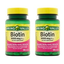 Spring Valley Biotin Softgels, 5000 Mcg, 120 Count (Pack of 2) - $16.83