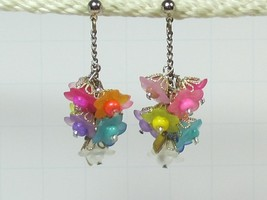 Flower Cluster Hot Pink and Blue Flowers Earrings HC - £7.91 GBP