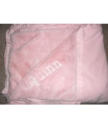 Pottery Barn Kids Quinn Baby Blanket Solid Pink Name Personalized - $26.24