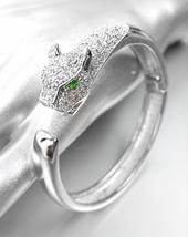 LUXURIOUS Designer 18kt White Gold Plated CZ Crystals Leopard Cuff Bracelet - $79.99