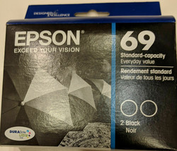 2 Epson T0691 BLACK ink jet printer Stylus CX6000 CX7000F CX7400 CX7450 ... - $27.69