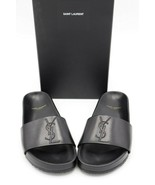 NIB Yves Saint Laurent Joan Stitched Logo Black Leather Slide Sandals 8 ... - $345.00