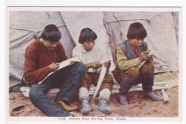 Eskimo Boys Carving Ivory Alaska 1920s postcard - $5.45