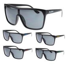 Mens Kush Marijuana Pot Flat Top Shield Mobster Plastic Sport Sunglasses - $7.95