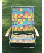 Vintage Telescope Folding Beach Chair With Towel Bar And Rainbow Stripe ... - $58.41