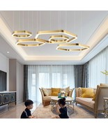 Gold Rings Suspended wire Lamp Home Decor LED Chandeliers Bedroom Projec... - $1,099.99+