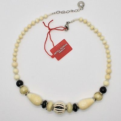 COLLIER ANTIQUE MURRINA VENEZIA VERRE DE MURANO BEIGE SABLE NOIR COA07A02