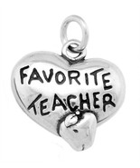STERLING SILVER ONE SIDED FAVORITE TEACHER HEART WITH APPLE CHARM / PENDANT - $9.18