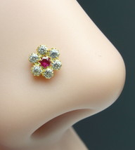 Real Gold Nose Stud Solid 14K Gold Pink White CZ Piercing Push Pin Nose ... - $21.38