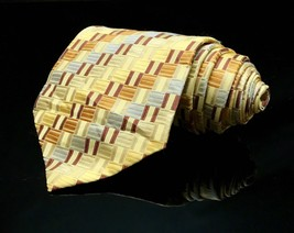 MODERN ELEMENTS GOLDENROD SIENNA SQUARE PATTERN SILK NECKTIE TIE MDE1516... - $13.03