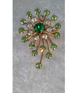 Star burst rhinestone pin brooch timeless swirl emerald green Vintage - $30.27 CAD