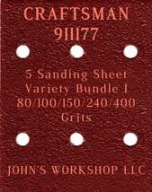 CRAFTSMAN 911177 - 80/100/150/240/400 Grits - 5 Sandpaper Variety Bundle I - $7.53